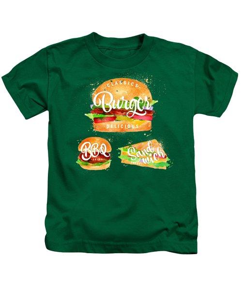 Vintage Burger Kids T-Shirt by Aloke Creative Store