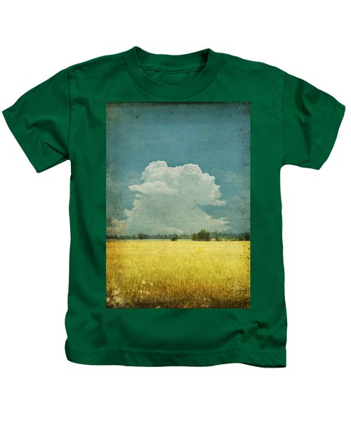 Yellow Field On Old Grunge Paper Kids T-Shirt