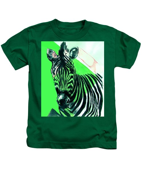Zebra In Green Kids T-Shirt