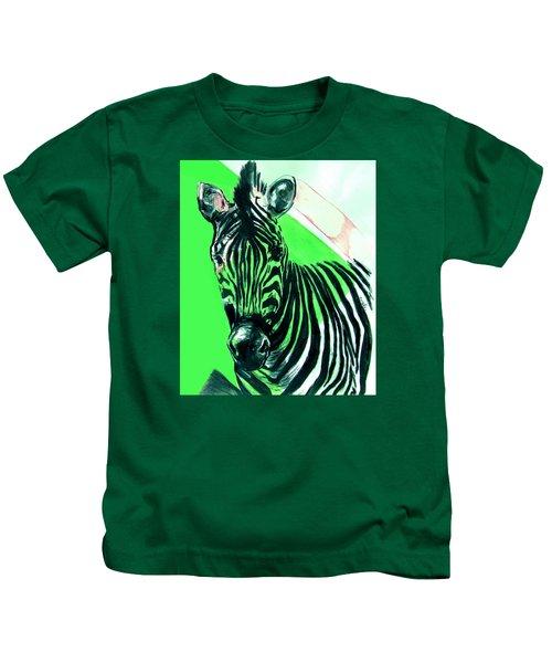 Zebra In Green Kids T-Shirt