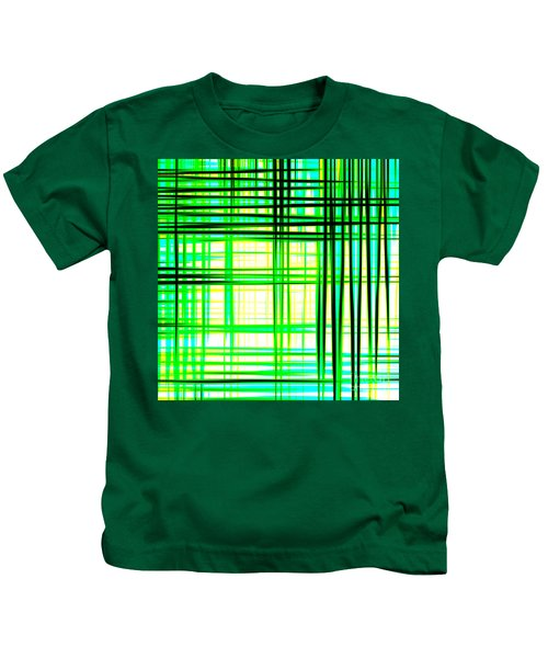 Abstract Design With Lines Squares In Green Color Waves - Pl409 Kids T-Shirt