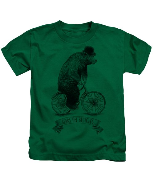Bears On Bicycles - Lime Kids T-Shirt