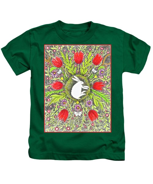 Bunny Nest With Red Flowers And White Butterflies Kids T-Shirt
