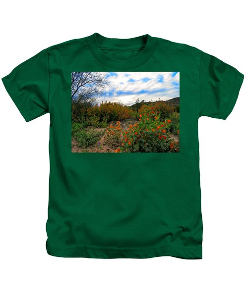 Kids T-Shirt featuring the photograph Desert Wildflowers In The Valley by Judy Kennedy