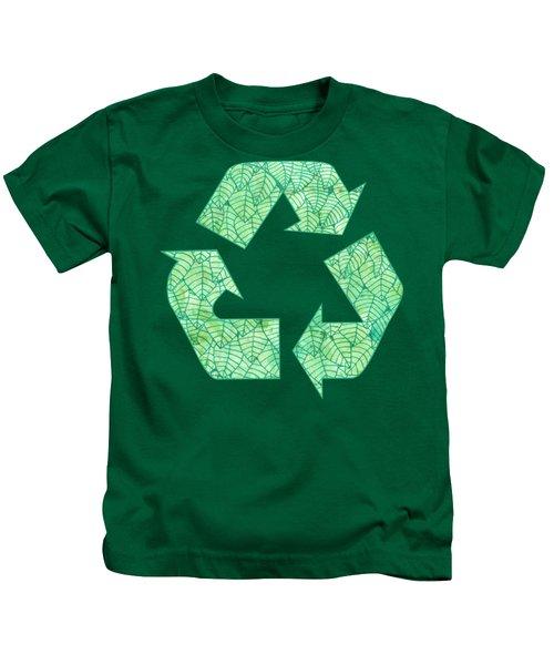 Green Foliage Pattern Kids T-Shirt