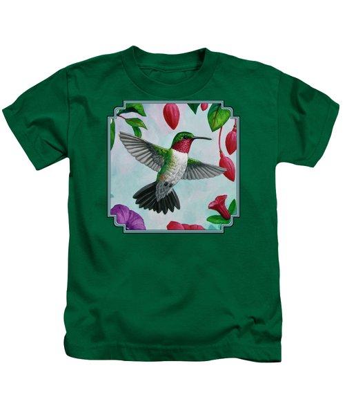 Hummingbird Flying In Spring Flower Garden 1 Kids T-Shirt