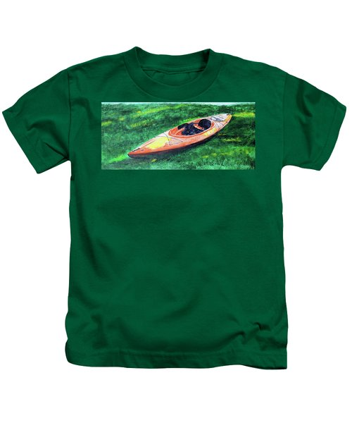 Kayak In The Grass Kids T-Shirt