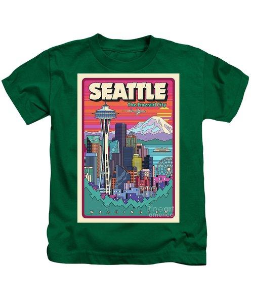 Seattle Poster - Pop Art Skyline Kids T-Shirt