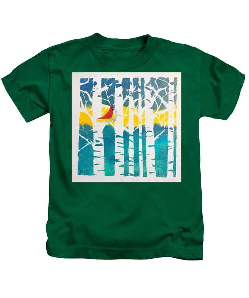 Spring Cardinal With Birch Trees Kids T-Shirt