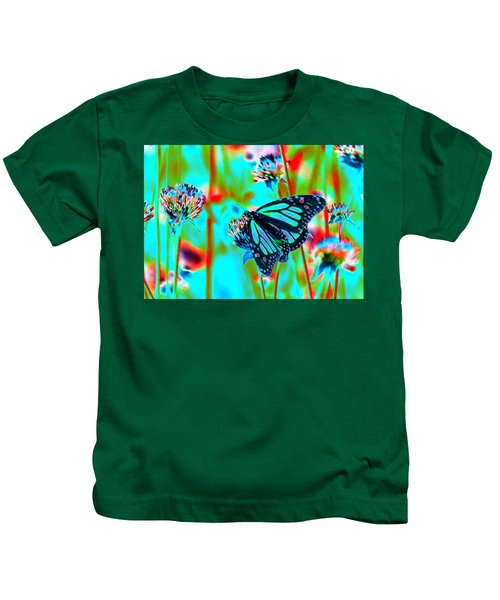 Teal Blue Monarch Butterfly Kids T-Shirt