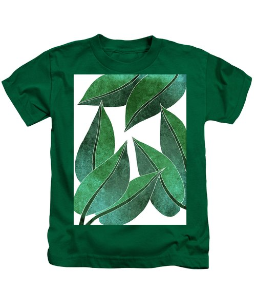 Tropical Leaf Illustration - Green - Botanical Art - Floral Design - Modern, Minimal Decor Kids T-Shirt