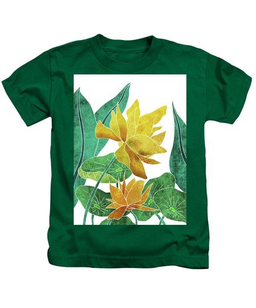 Yellow Lotus Flower - Botanical, Floral, Tropical Art - Modern, Minimal Decor - Yellow, Green Kids T-Shirt