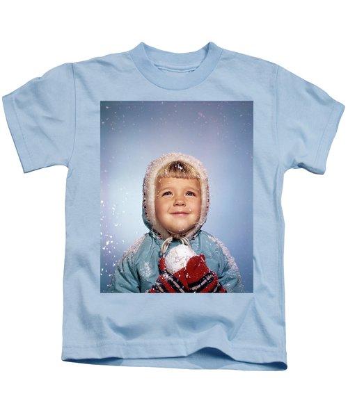 1960s Little Girl Holding Snow Ball Kids T-Shirt