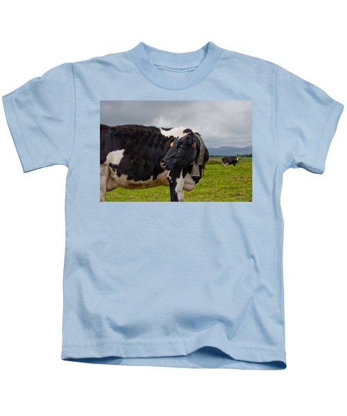 Cow Wearing Cowbell  Kids T-Shirt