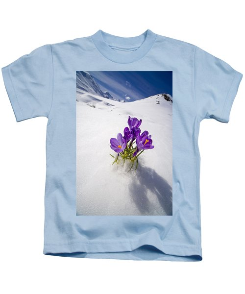 Crocus Flower Peeking Up Through The Kids T-Shirt