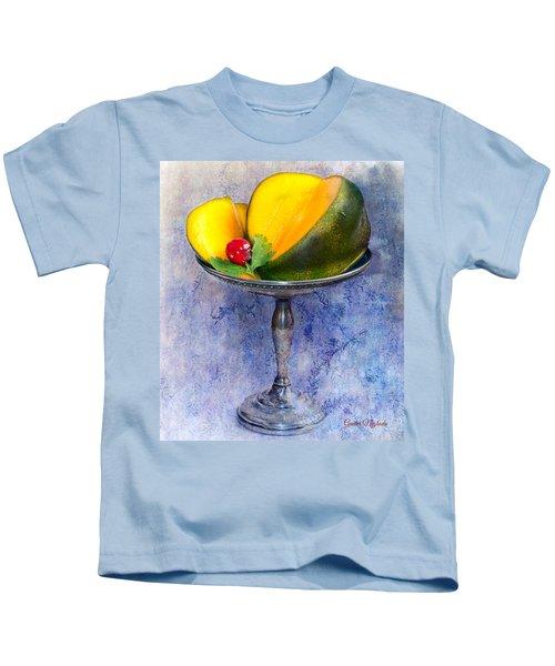 Cut Mango On Sterling Silver Dish Kids T-Shirt