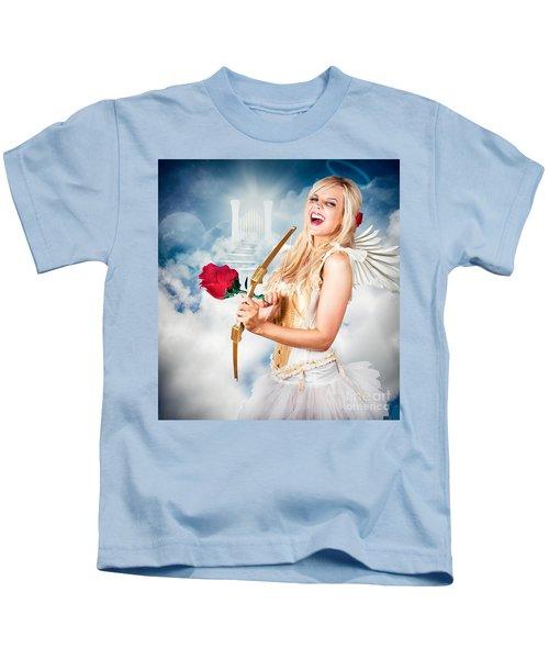 Heavenly Angel Of Love With Flower Arrow Kids T-Shirt