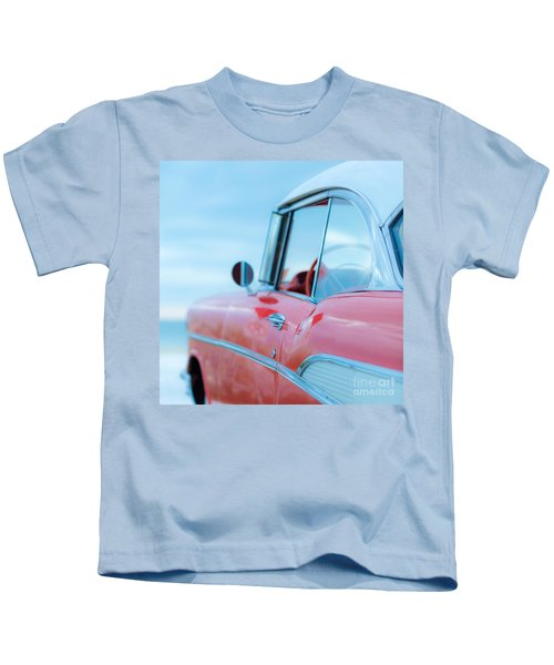 Red Chevy '57 Bel Air At The Beach Square Kids T-Shirt