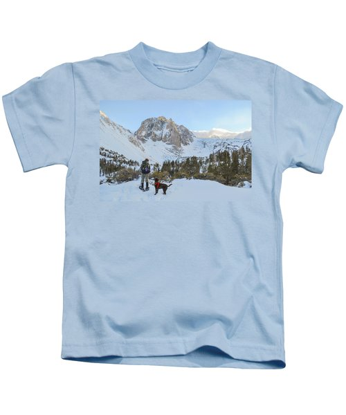Snowshoeing To Temple Crag With Mans Kids T-Shirt