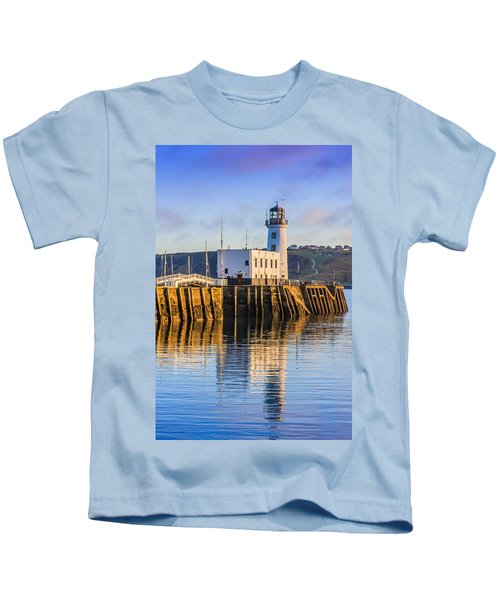 Sunset Over Scarborough Lighthouse Kids T-Shirt