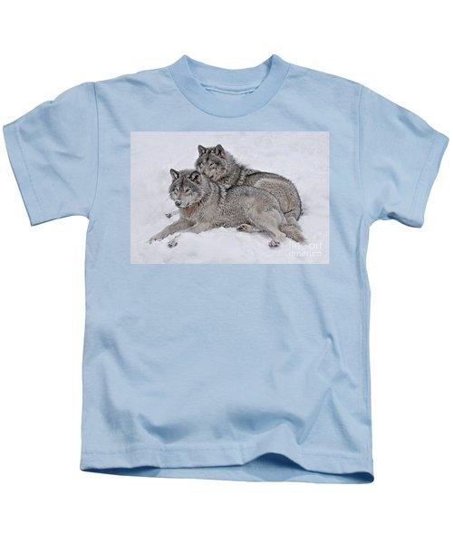 Timber Wolf Pair Kids T-Shirt