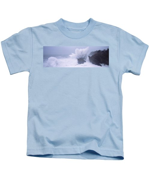 Waves Breaking On The Coast, Shore Kids T-Shirt