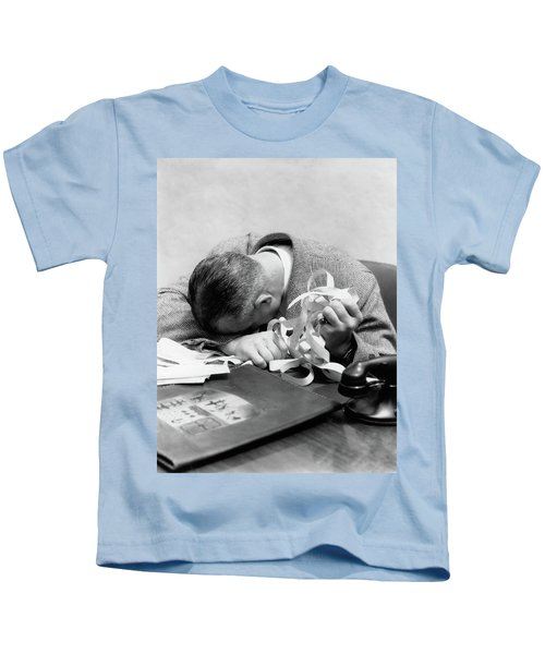 1930s 1940s Man With Head Down On Desk Kids T-Shirt