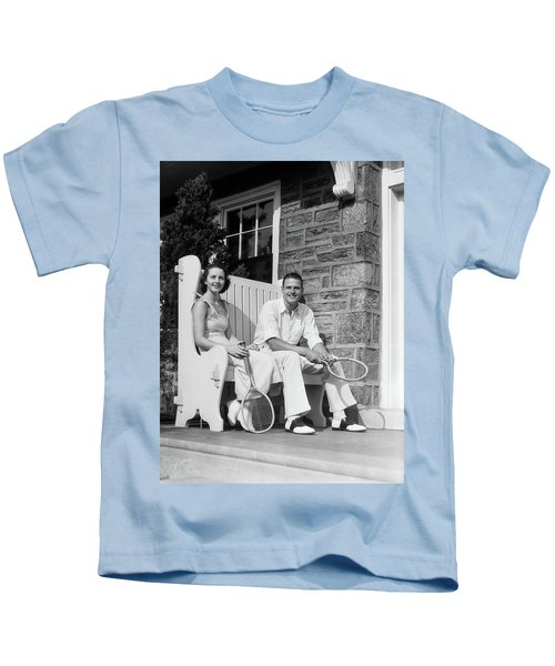 1930s Man And Woman Sitting On Porch Kids T-Shirt