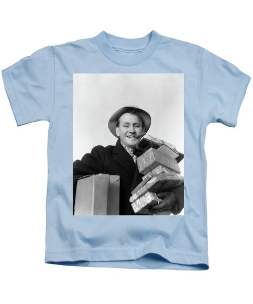 1930s Man Cigar In Mouth Hat Tipped Kids T-Shirt
