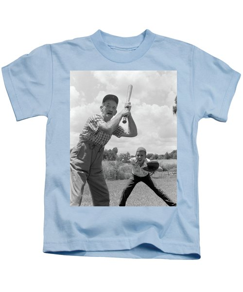 1950s Grandfather At Bat With Grandson Kids T-Shirt