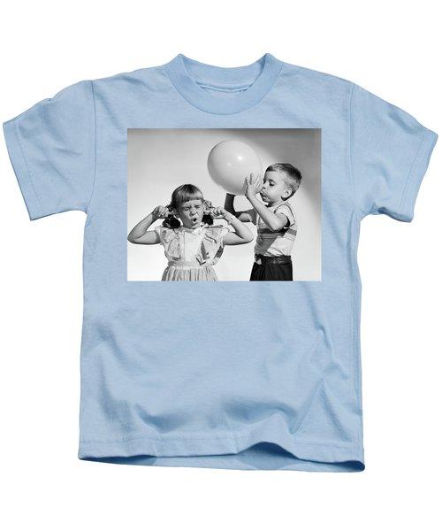1950s Little Boy Blowing Up Big Balloon Kids T-Shirt