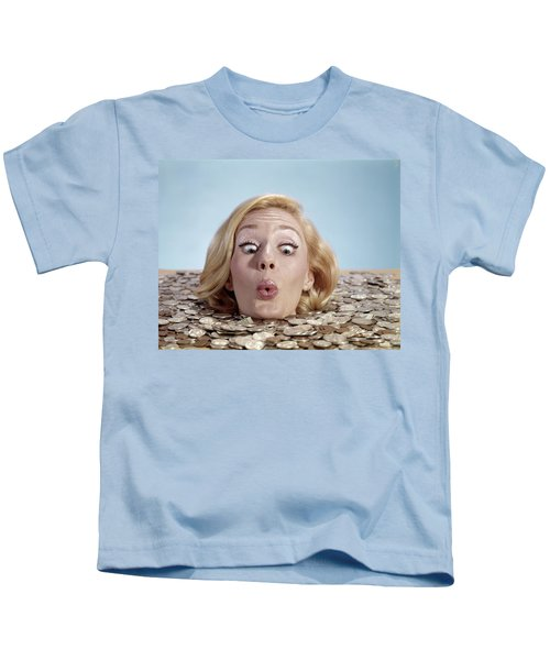 1960s Blond Woman Funny Facial Kids T-Shirt