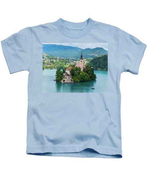 Bled, Upper Carniola, Slovenia. Church Kids T-Shirt
