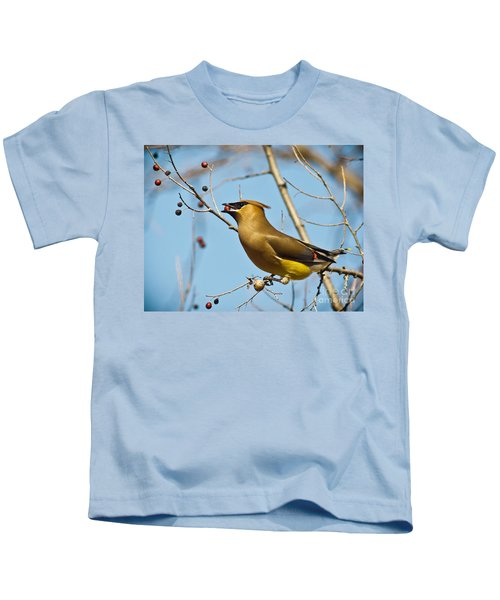 Cedar Waxwing With Berry Kids T-Shirt by Robert Frederick