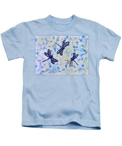 3 Blue Dragonflies Alcohol Ink Kids T-Shirt