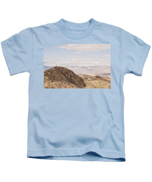 A Hiker Stands On A Peak Kids T-Shirt