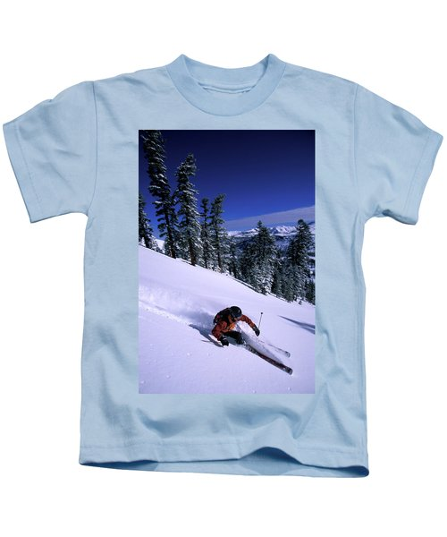 A Man Backcountry Sking On A Sunnty Day Kids T-Shirt
