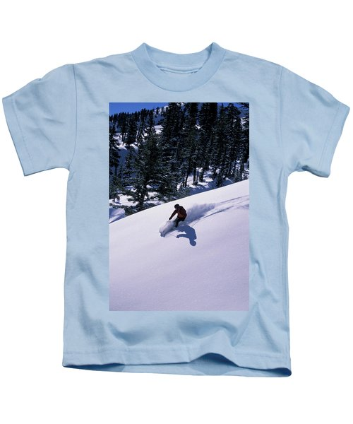 A Man Skiing In The Backcountry Kids T-Shirt