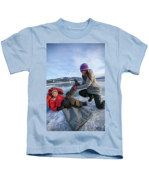 A Mom Helping A Little Boy Get Ready Kids T-Shirt
