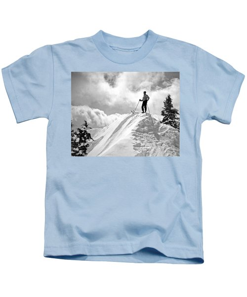 A Skier On Top Of Mount Hood Kids T-Shirt