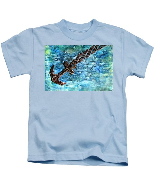 Anchor Under Water Alcohol Inks Kids T-Shirt