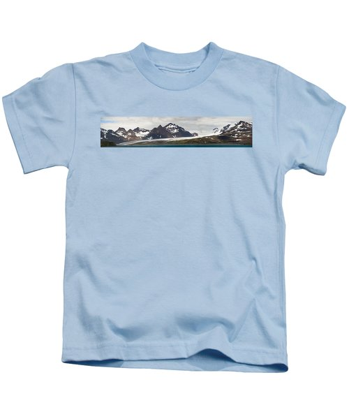 Bay In Front Of Snow Covered Mountains Kids T-Shirt