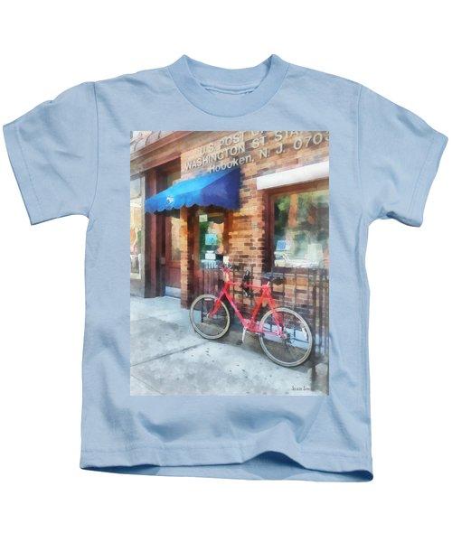 Hoboken Nj - Bicycle By Post Office Kids T-Shirt