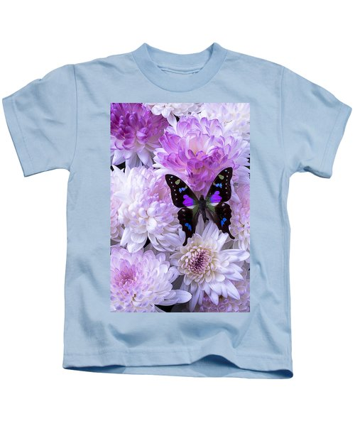 Black And Purple Butterfly On Mums Kids T-Shirt