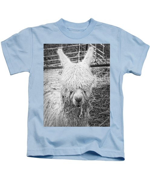 Black And White Alpaca Photograph Kids T-Shirt by Keith Webber Jr