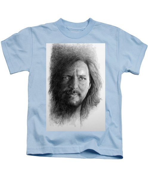 Black And White Vedder Kids T-Shirt by William Walts