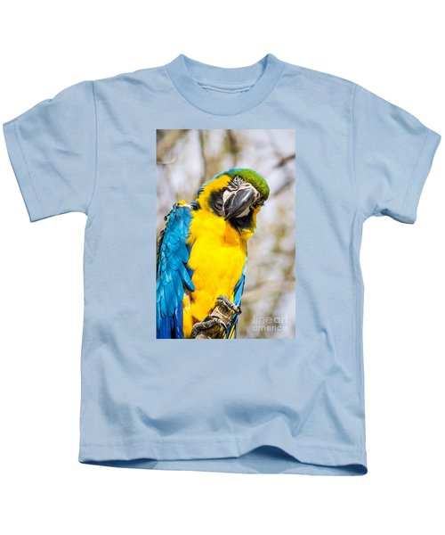 Blue And Gold Macaw Parrot Kids T-Shirt