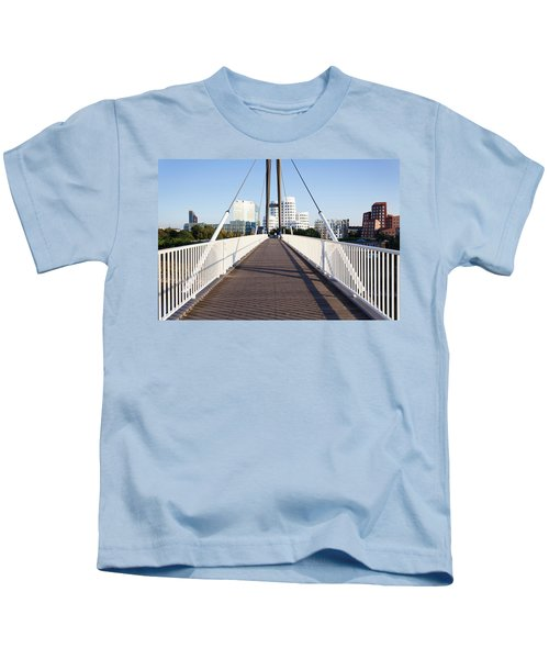 Bridge With Neuer Zollhof Buildings Kids T-Shirt