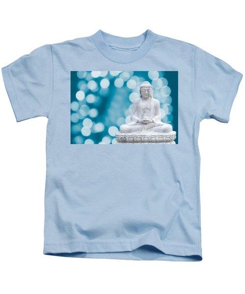 Buddha Enlightenment Blue Kids T-Shirt