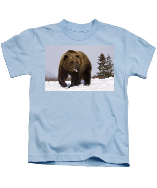 Captive Grizzly Stands On Snow During Kids T-Shirt